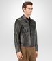 BOTTEGA VENETA BLOUSON IN DARK SERGEANT CRINKLED LAMB, INTRECCIATO DETAILS Outerwear and Jacket Man rp