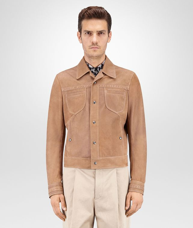 BOTTEGA VENETA BLOUSON IN NEW CIGAR SUEDE, INTRECCIATO DETAILS Coat or Jacket U fp