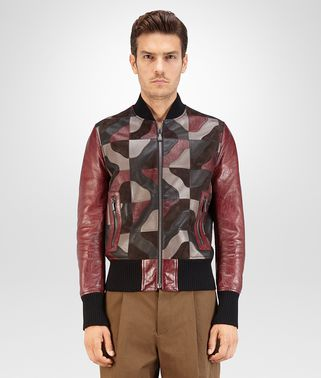BLOUSON IN MULTICOLOR LEATHER PATCHWORK, CROCODILE PRINT DETAILS
