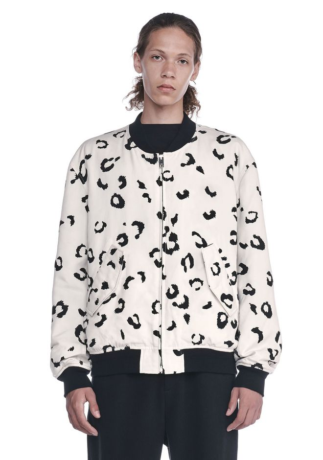 ALEXANDER WANG JACKETS AND OUTERWEAR  Men LEOPARD PRINTED SILK BOMBER