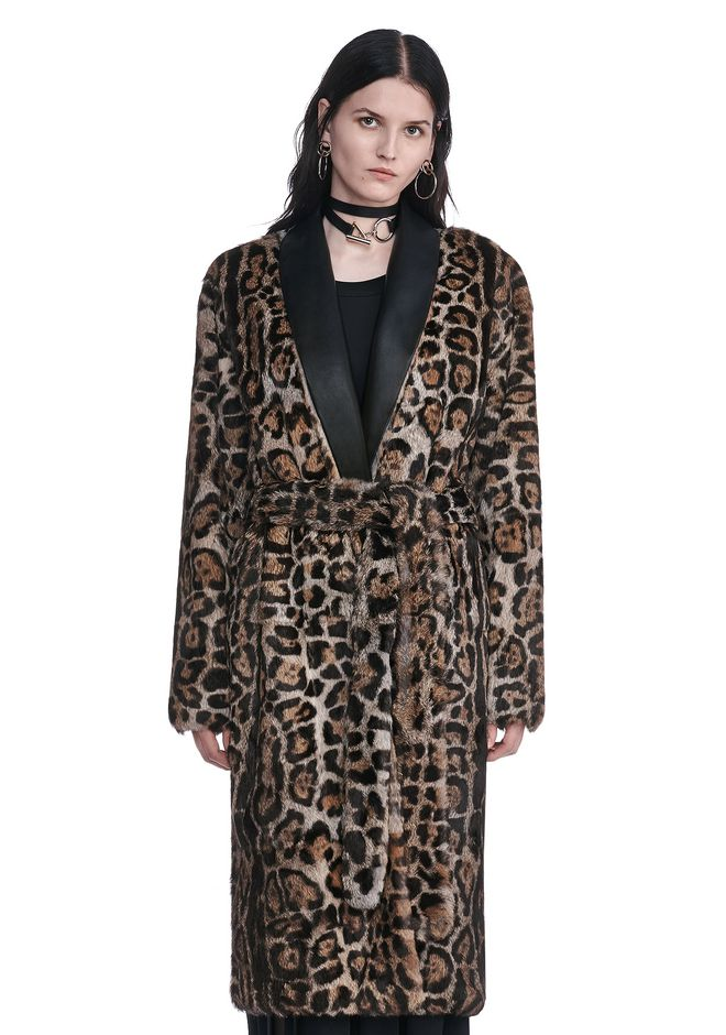 ALEXANDER WANG new-arrivals FUR ROBE COAT WITH LEATHER SHAWL COLLAR