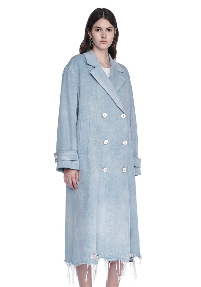ALEXANDER WANG JACKETS AND OUTERWEAR  Women OVERSIZED DENIM TRENCH COAT WITH DISTRESSED HEM