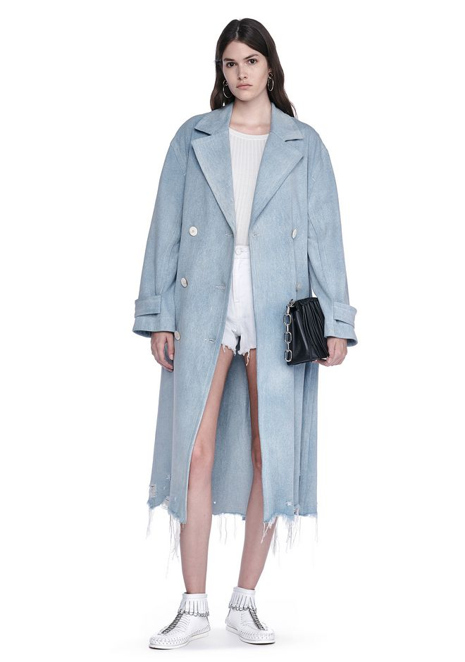 ALEXANDER WANG JACKETS AND OUTERWEAR  OVERSIZED DENIM TRENCH COAT WITH DISTRESSED HEM