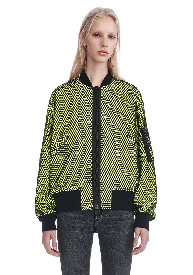 ALEXANDER WANG new-arrivals-ready-to-wear-woman NEON BOMBER JACKET WITH MESH OVERLAY