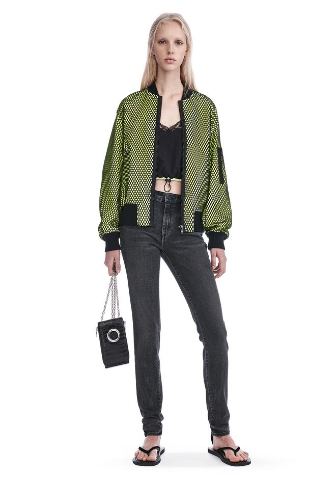 ALEXANDER WANG JACKETS AND OUTERWEAR  NEON BOMBER JACKET WITH MESH OVERLAY