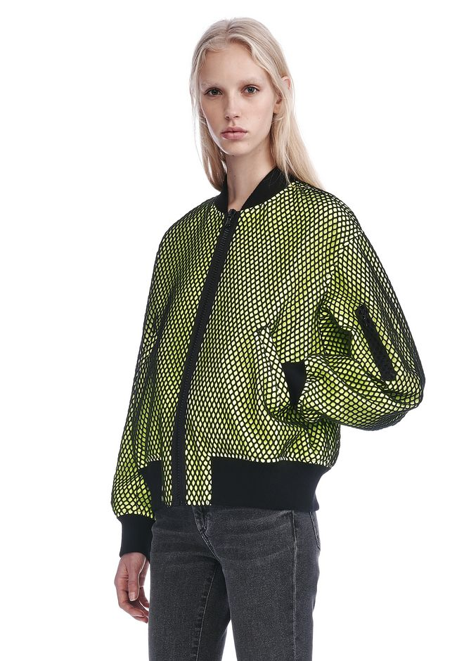 ALEXANDER WANG NEON BOMBER JACKET WITH MESH OVERLAY JACKETS AND OUTERWEAR  Adult 12_n_a