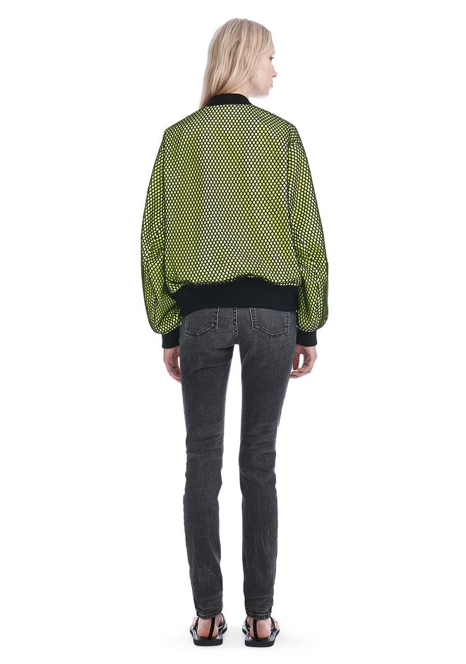 ALEXANDER WANG NEON BOMBER JACKET WITH MESH OVERLAY JACKETS AND OUTERWEAR  Adult 12_n_r