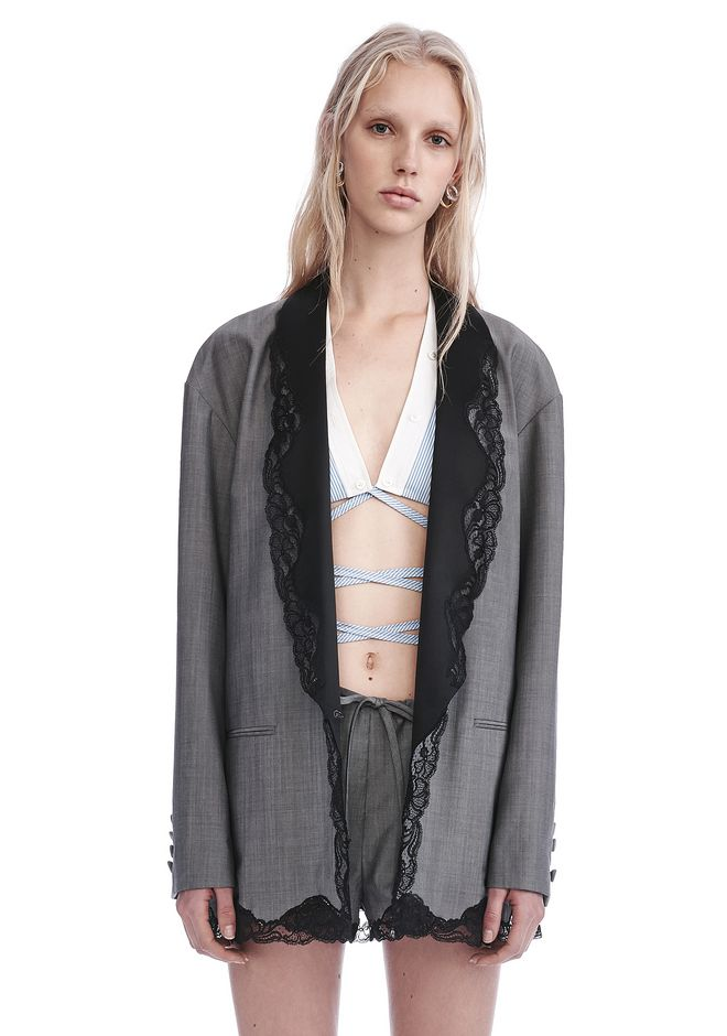 ALEXANDER WANG JACKETS AND OUTERWEAR  Women SINGLE BREASTED BLAZER WITH LACE-TRIMMED SHAWL COLLAR
