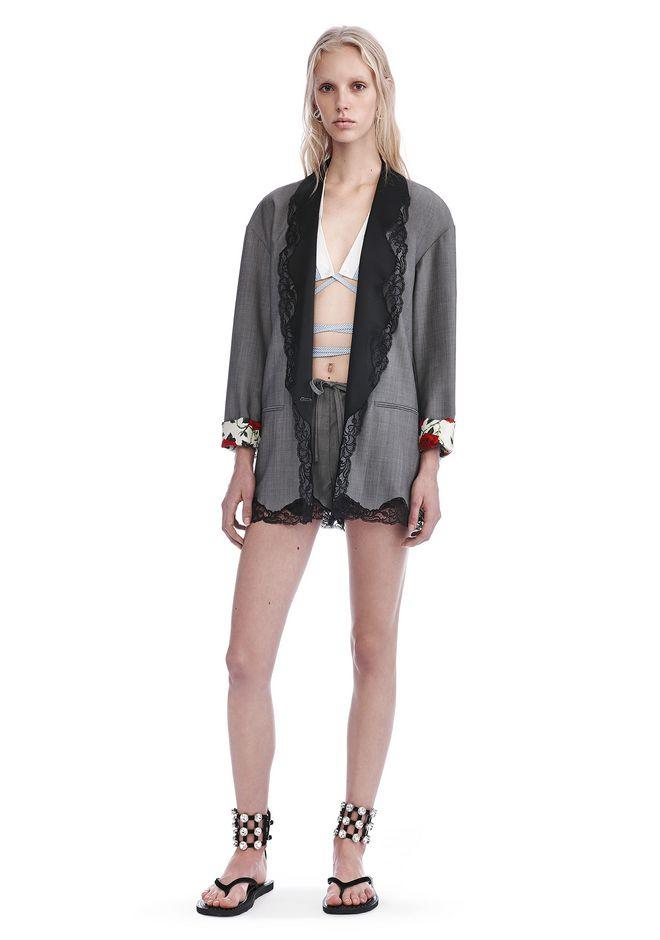 ALEXANDER WANG JACKETS AND OUTERWEAR  SINGLE BREASTED BLAZER WITH LACE-TRIMMED SHAWL COLLAR