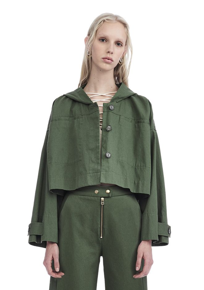 T by ALEXANDER WANG VESTES ET VÊTEMENTS OUTDOOR Femme GARMENT WASHED COTTON CROPPED JACKET
