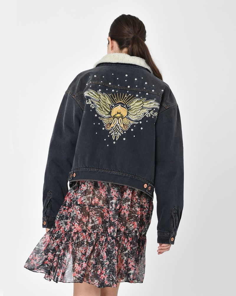 Cassy embroidered denim jacket with studs ISABEL MARANT ÉTOILE