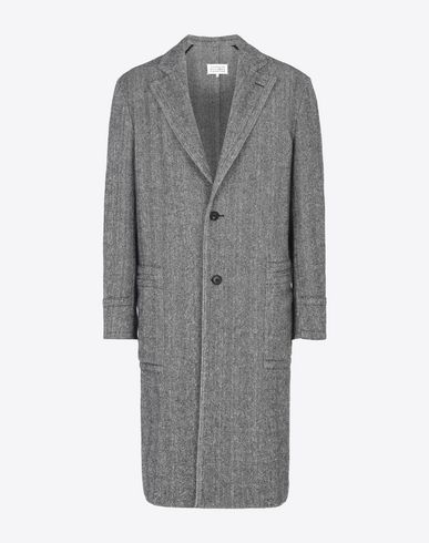 MAISON MARGIELA Manteau long U Manteau en tweed imprimé chevrons f