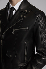 DSQUARED2 Quilted Aviator Leather Jacket Kaban Man