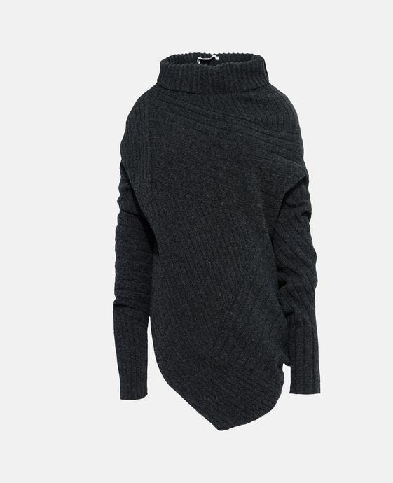 Grey Asymmetric Knit Jumper