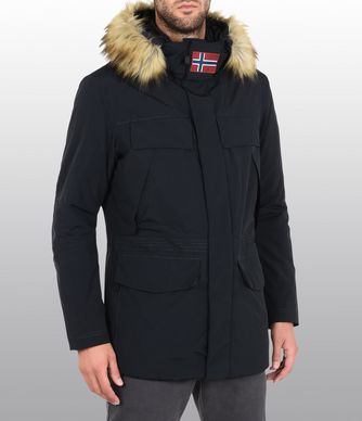 NAPAPIJRI SUPERLIGHT SKIDOO FAUX FUR MAN PARKA,BLACK