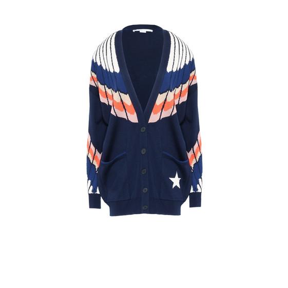 Feather Print V-neck Knit Cardigan