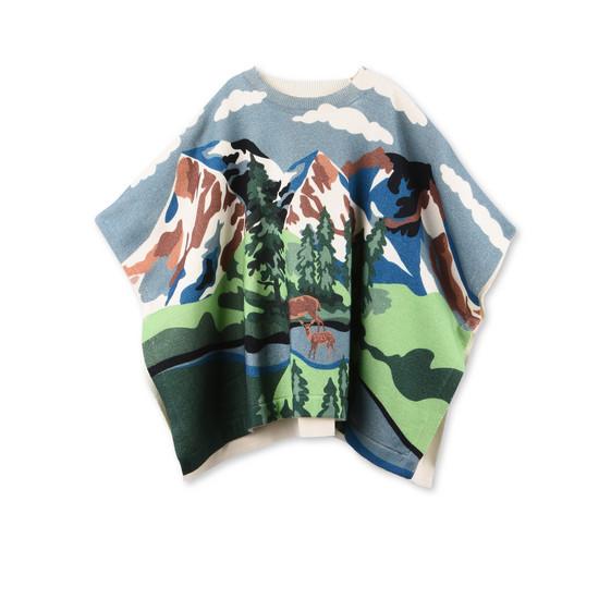 Mantella Tricot Huckle Blu con Paesaggio