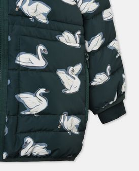 Grace Blue Swan Print Puffer Coat