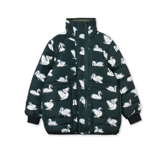 Grace Blue Swan Print Puffer Coat