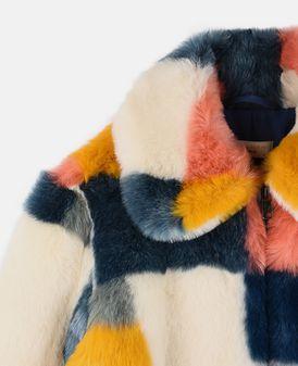 Abbie Faux-Fur Color Block Coat