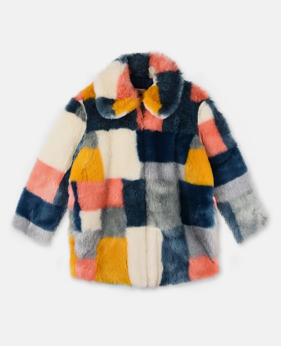 Abbie Faux-Fur Color Block Coat