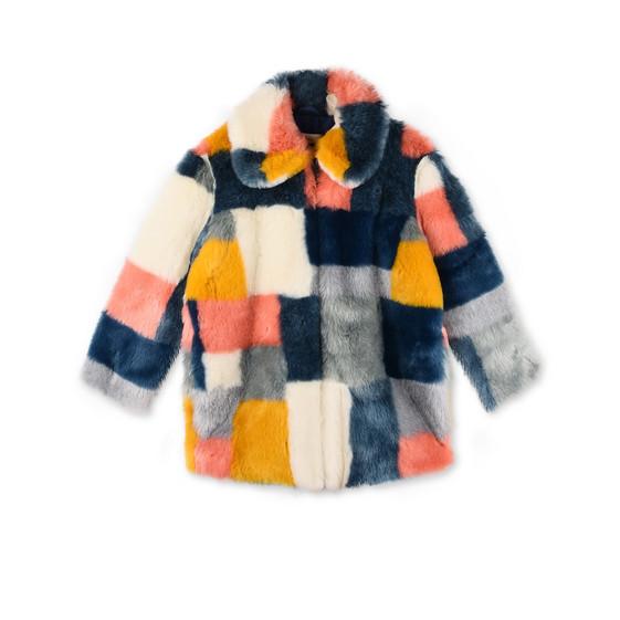STELLA McCARTNEY KIDS Outerwear D Abbie Faux-Fur Colour Block Coat f