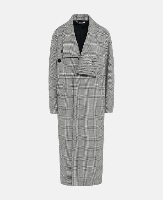 Flor Grey Check Long Coat