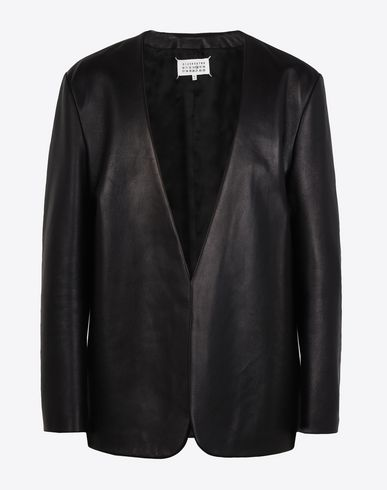 MAISON MARGIELA Leather Jacket U Collarless leather jacket f