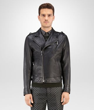 BIKER IN NERO CALF LEATHER, INTRECCIATO DETAILS