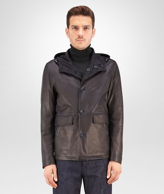 BLOUSON IN DARK NAVY LAMB LEATHER, REVERSIBLE WITH NYLON AND INTRECCIATO DETAILS
