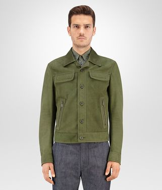 BLOUSON IN DARK MOSS SUEDE, LEATHER COLLAR AND INTRECCIATO DETAILS