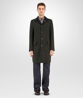 COAT IN MOSS NERO DOUBLE CASHMERE, REVERSIBLE