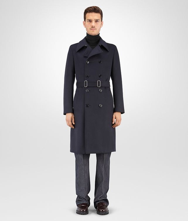 BOTTEGA VENETA TRENCH IN DARK NAVY ORGANIC WOOL Outerwear and Jacket Man fp