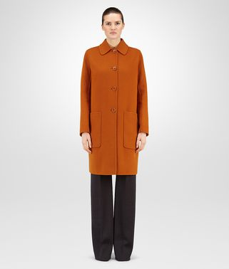 LEATHER OCRE DOUBLE CASHMERE COAT
