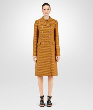 COAT IN OCRE-LEATHER NEW WOOL JACQUARD