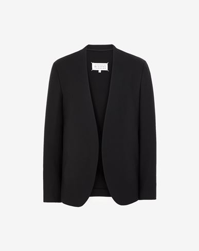 COATS & JACKETS Collarless virgin wool jacket Black