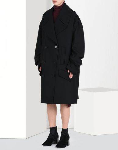 MM6 by MAISON MARGIELA Mid-length jacket D Oversized double breasted coat f