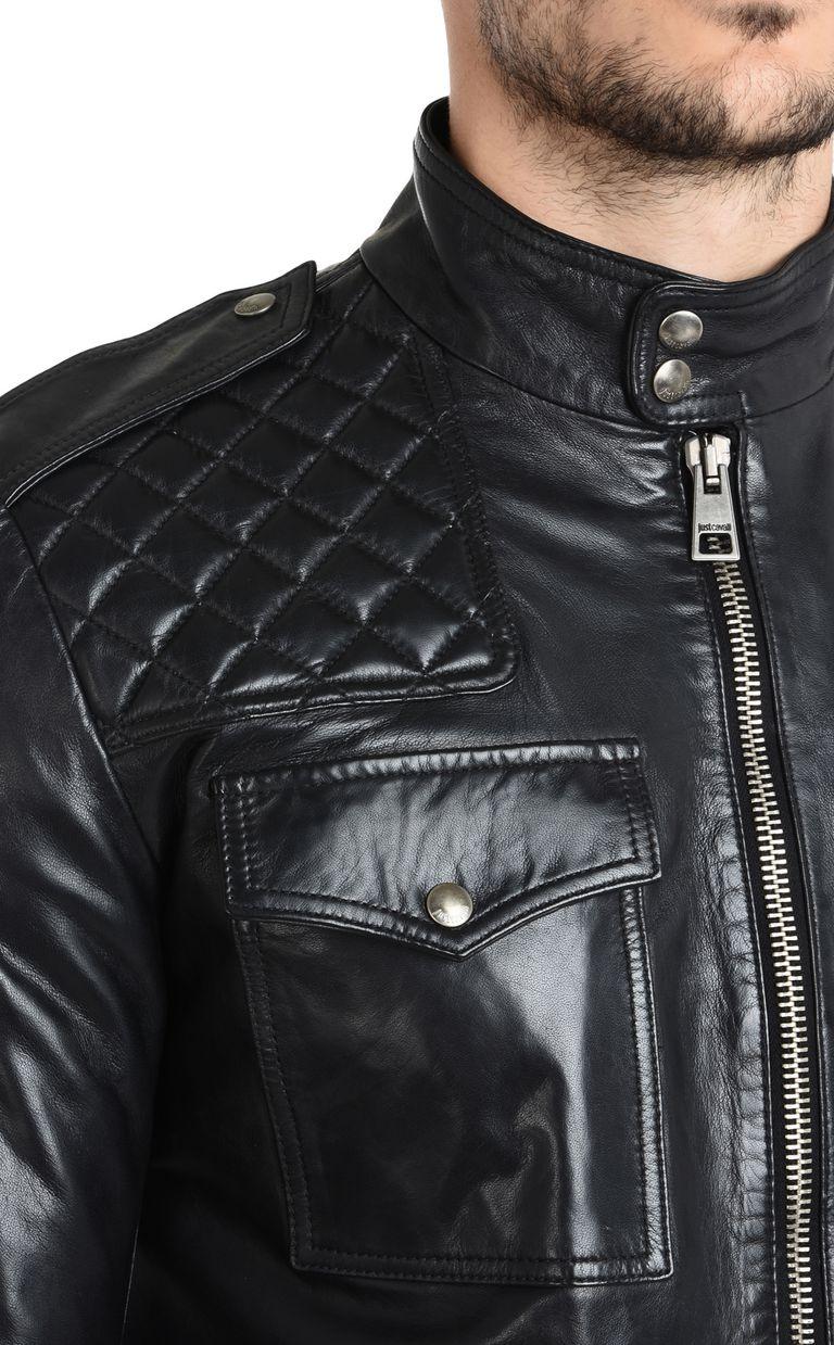 JUST CAVALLI Leather sports jacket Leather Jacket Man e