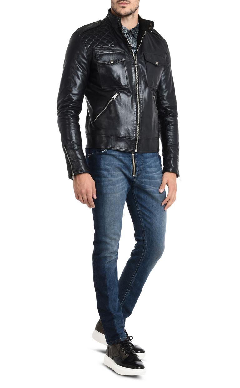 JUST CAVALLI Leather sports jacket Leather Jacket Man r