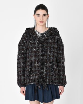 FLIVER sweatshirt style jacket in wool tweed