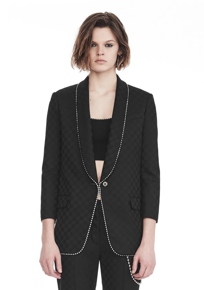 ALEXANDER WANG new-arrivals-ready-to-wear-woman SHAWL COLLAR BLAZER WITH BALL CHAIN TRIM