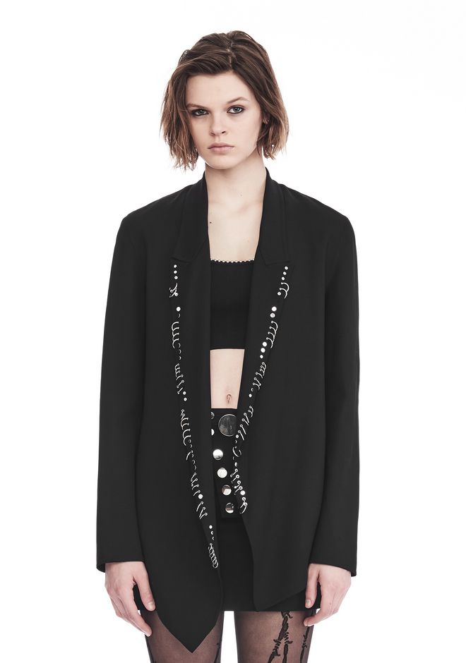 ALEXANDER WANG JACKETS AND OUTERWEAR  Women ASYMMETRIC BLAZER WITH IRREGULAR PIERCINGS