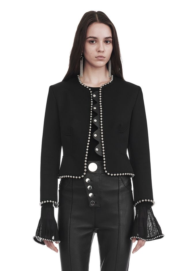 ALEXANDER WANG JACKETS AND OUTERWEAR  Women CROPPED PEPLUM JACKET WITH BALL CHAIN TRIM
