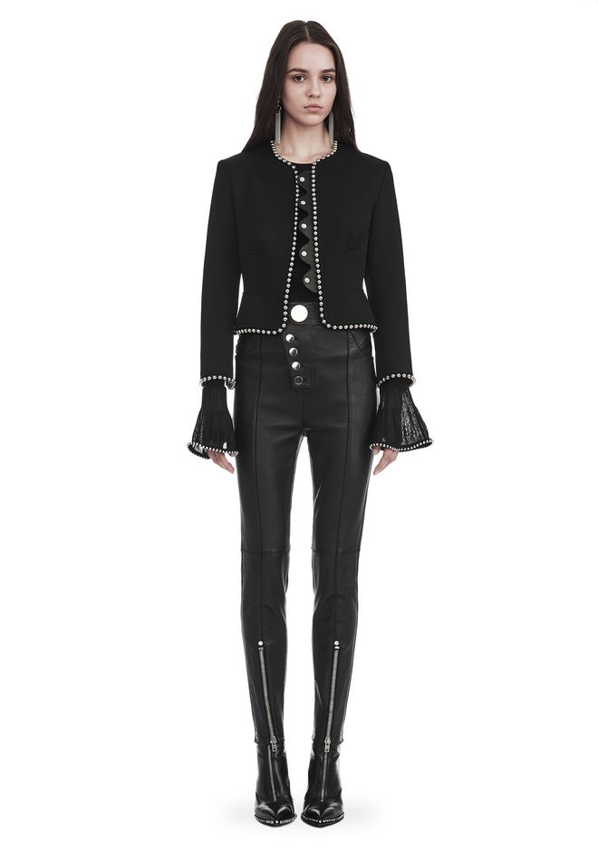 ALEXANDER WANG JACKETS AND OUTERWEAR  CROPPED PEPLUM JACKET WITH BALL CHAIN TRIM