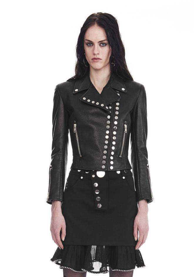 ALEXANDER WANG new-arrivals-ready-to-wear-woman CROPPED SLEEVE MOTO JACKET WITH DOUBLE SNAP FRONT