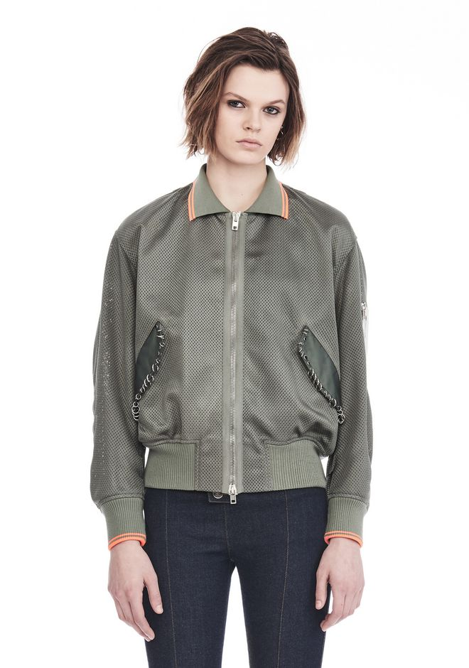 ALEXANDER WANG JACKETS AND OUTERWEAR  Women MESH BOMBER JACKET WITH IRREGULAR PIERCINGS