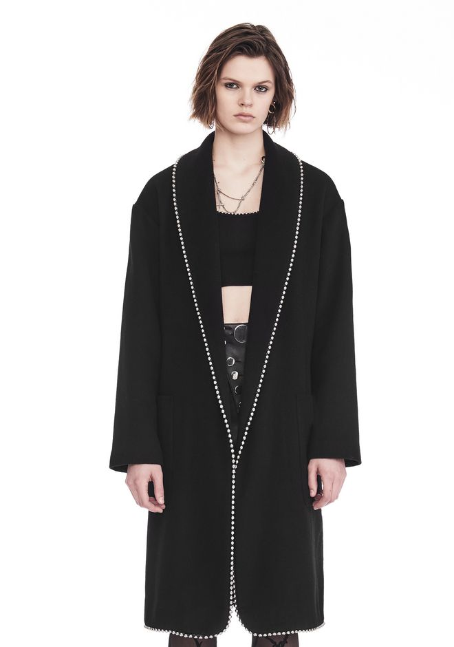 ALEXANDER WANG new-arrivals-ready-to-wear-woman BATHROBE COAT WITH BALL CHAIN TRIM