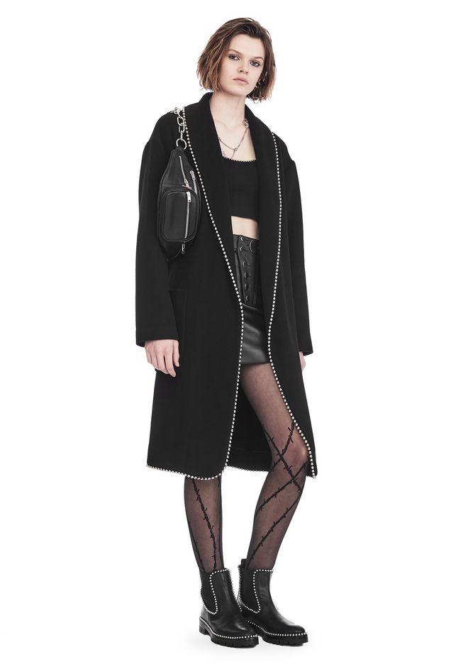Bathrobe Coat With Ball Chain Trim, Black