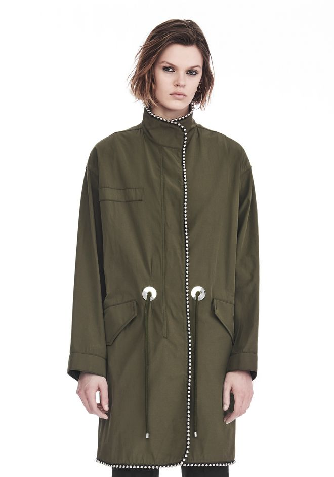 ALEXANDER WANG new-arrivals-ready-to-wear-woman OVERSIZED PARKA WITH BALLCHAIN TRIM