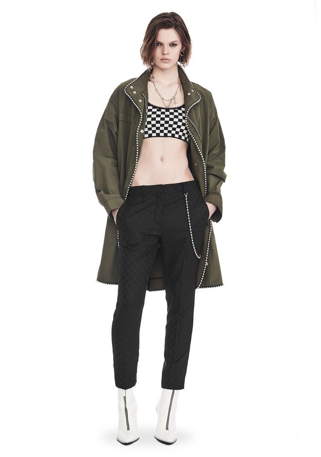 ALEXANDER WANG JACKETS AND OUTERWEAR  OVERSIZED PARKA WITH BALLCHAIN TRIM